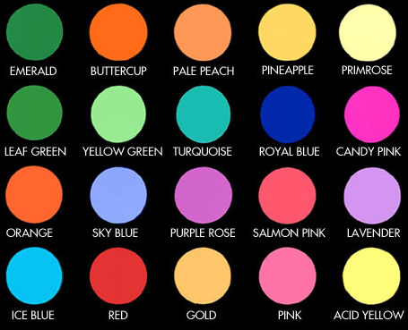 Fluorescent lighting COLOR Filter SELECTION CHART