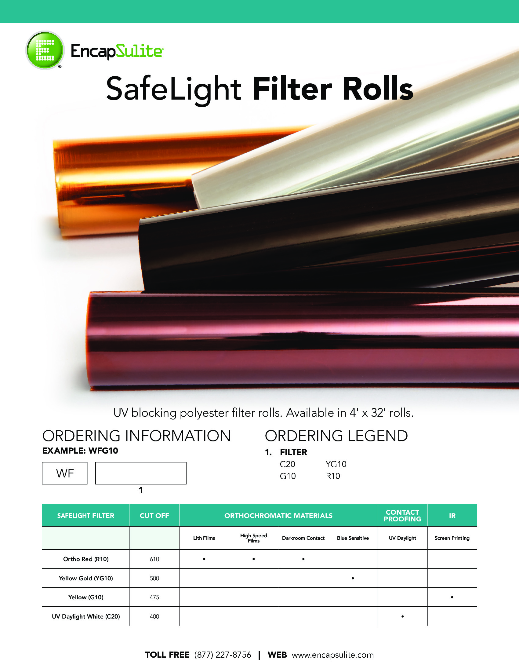 SafeLight Filter Roll Specification